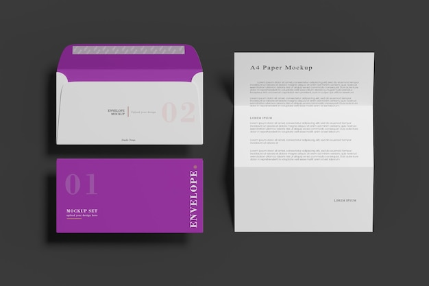 A4 paper and envelope mockup 3d rendering