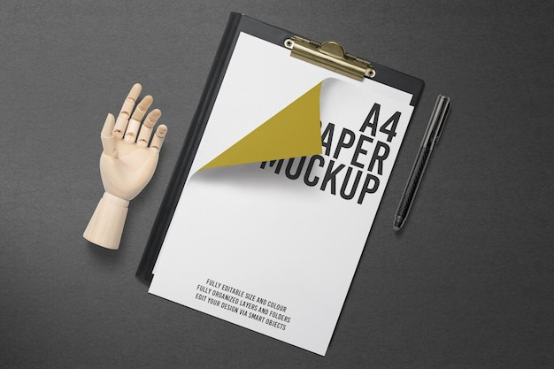 A4 paper mockup with clipboard