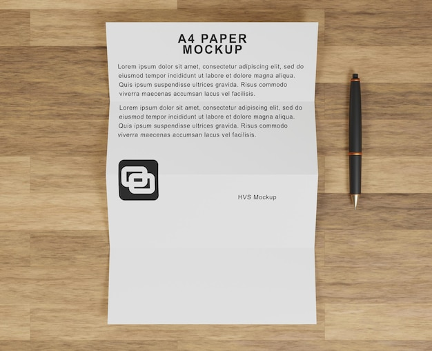 A4紙のモックアップ