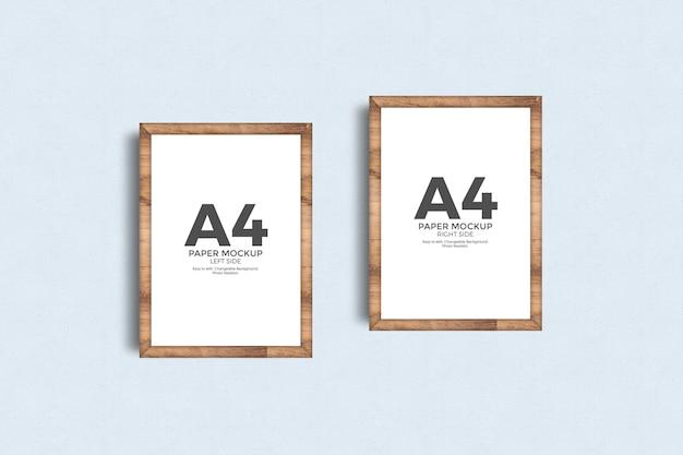 Рамка для постеров из бумаги а4 на макете стены