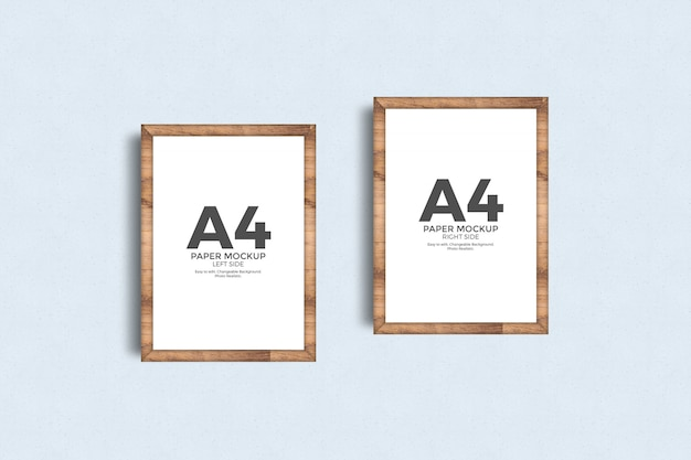 A4 paper poster frame on wall mockup