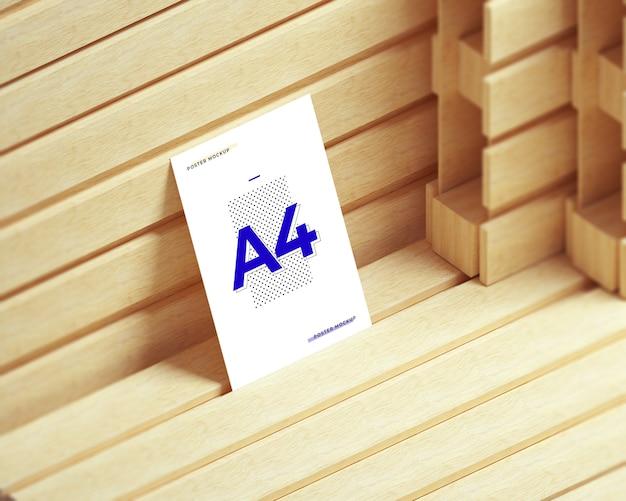 A4 paper / poster psd mockup. mockup on wooden pallets.
