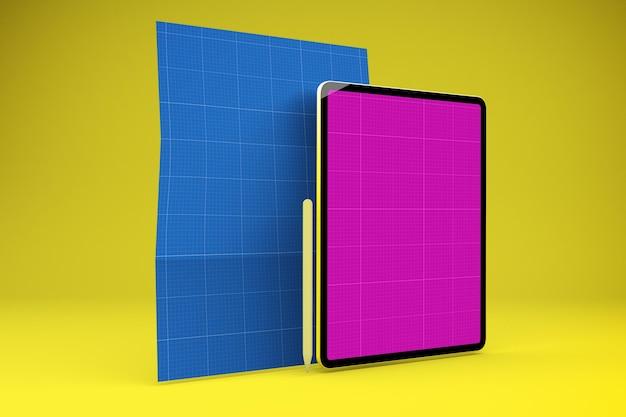 A4 종이 태블릿 목업