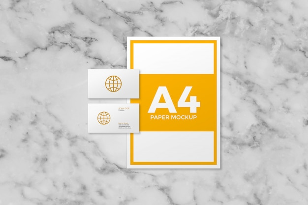 A4 paper with business cards mockup