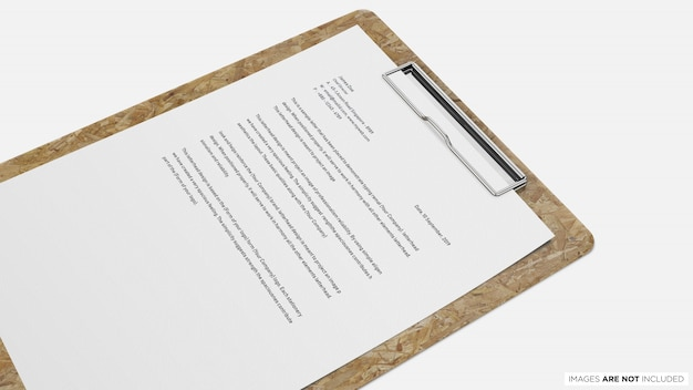 A4 paper with clipboard psd mockup
