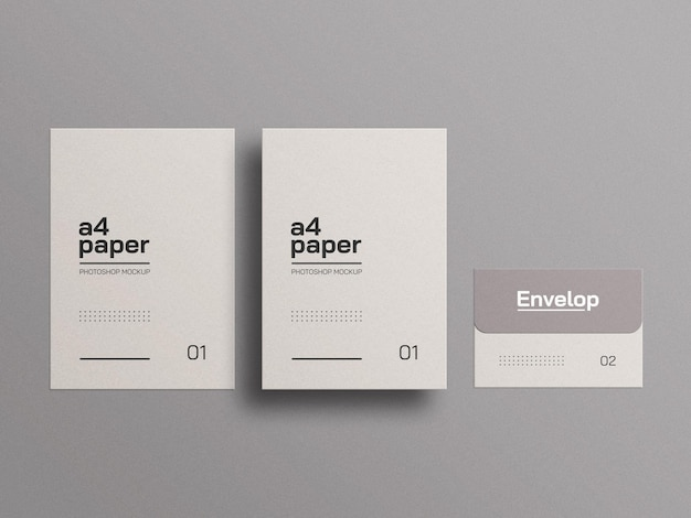 A4 paper with envelope mockup