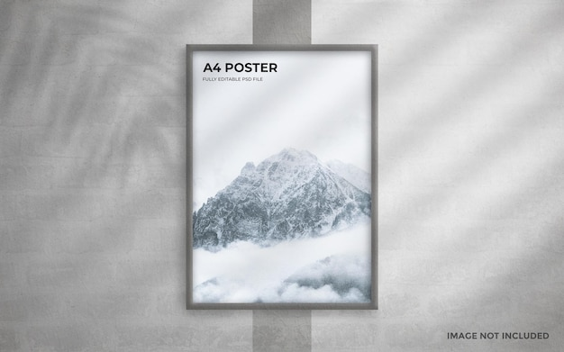 A4 poster on grunge white wall mockup