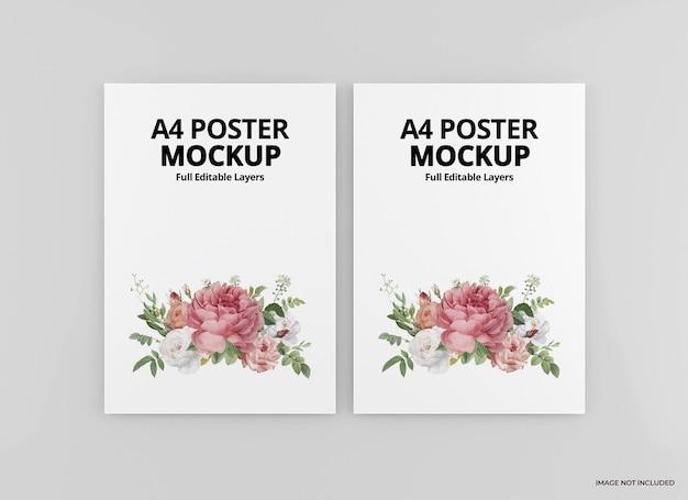 分離されたa4ポスターモックアップデザインレンダリング