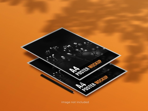 A4 poster mockup perspective view