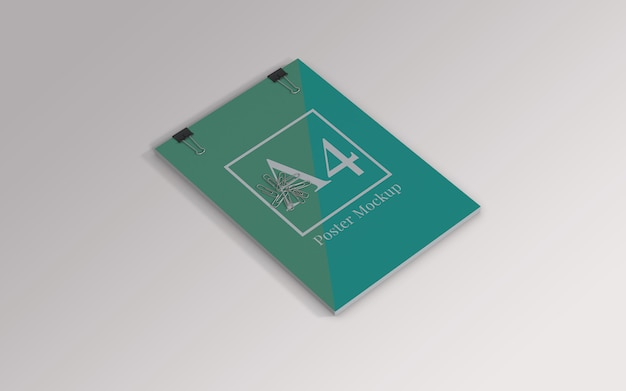 A4 poster mockup with binder clip and paper clip left view