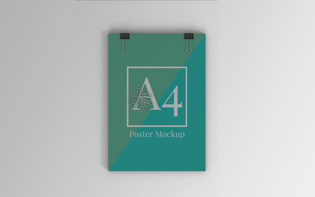 A4 poster mockup with binder clip and paper clip top view