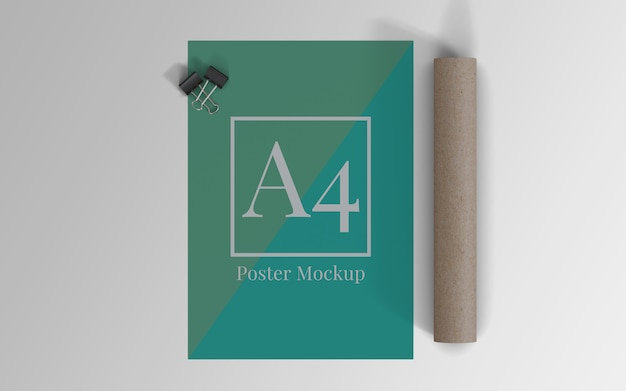 A4 poster mockup with binder clip and roll cardboard top view