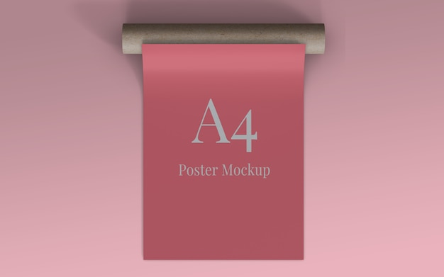 A4 poster mockup with roll cardboard top view