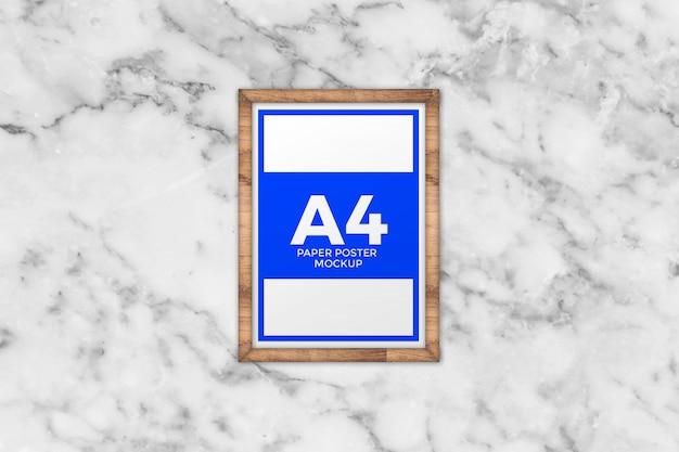 A4 poster on wooden frame mockup