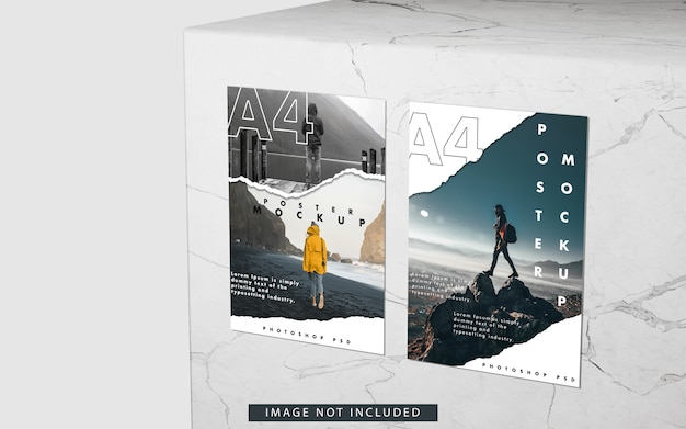 A4 posters mockup on marble right view