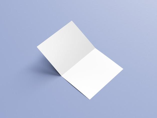 A4プレゼンテーションフォルダまたは2つ折りパンフレットのモックアップ側面図