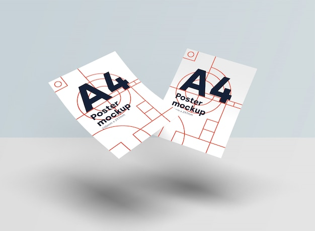 紙a4モックアップpsd重力