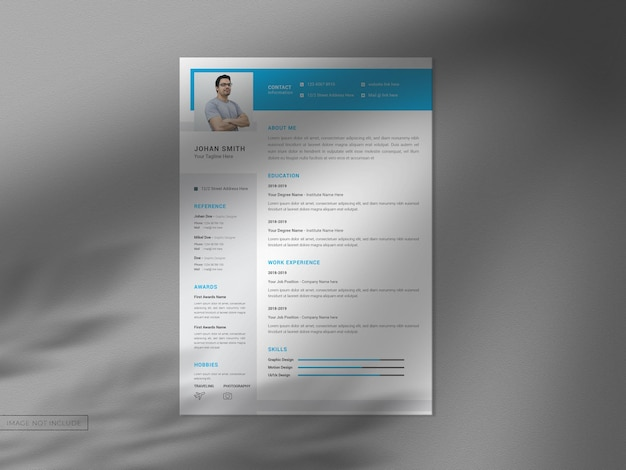 A4 resume cv template with modern clean mockup