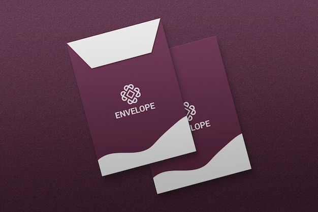 A4 size envelope mockup on textured paper