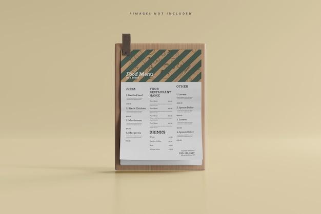 A4 size food menu on a wooden board mockup Premium Psd