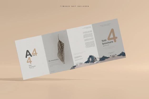 A4サイズ4つ折りパンフレットのモックアップ