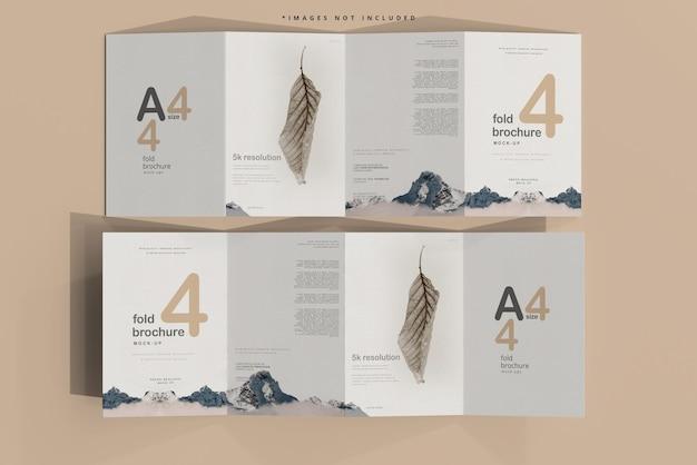 Мокап брошюры формата a4 в четыре раза