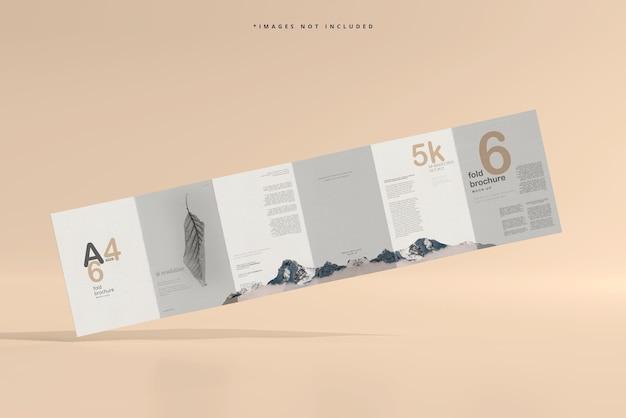 A4サイズ6つ折りパンフレットのモックアップ