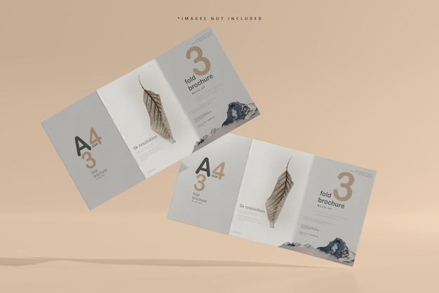 A4サイズの3つ折りパンフレットのモックアップ
