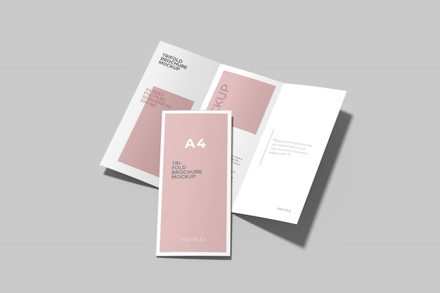 A4 trifold brochure mockup set high angel view