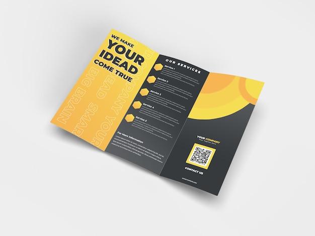 A4広告会社のプロフィールとブランドアイデンティティのための3つ折りの現実的なパンフレットチラシモックアップ