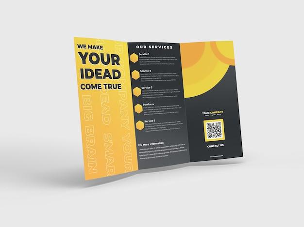 A4広告会社のプロフィールとブランドアイデンティティのための3つ折りの現実的なパンフレットチラシモックアップ Premium Psd