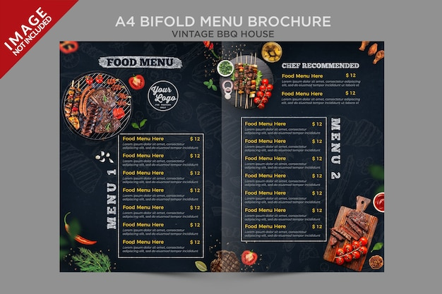 A4 빈티지 bbq 하우스 bifold 메뉴 브로셔 시리즈