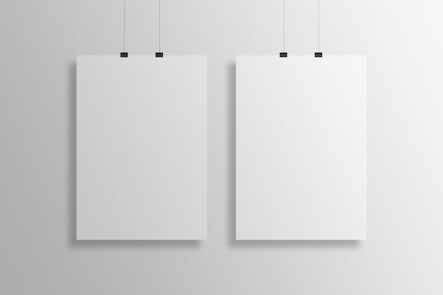 ハンギングa4サイズのポスターモックアッププレゼンテーション
