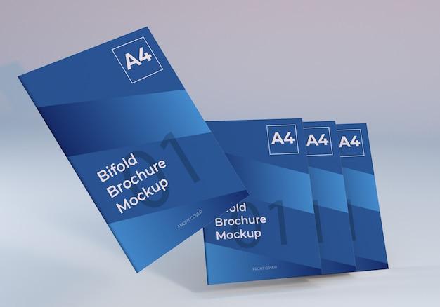 フローティングa4二つ折りパンフレット紙モックアップ
