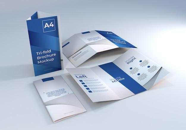 ミニマリストa4三つ折りパンフレットモックアップ