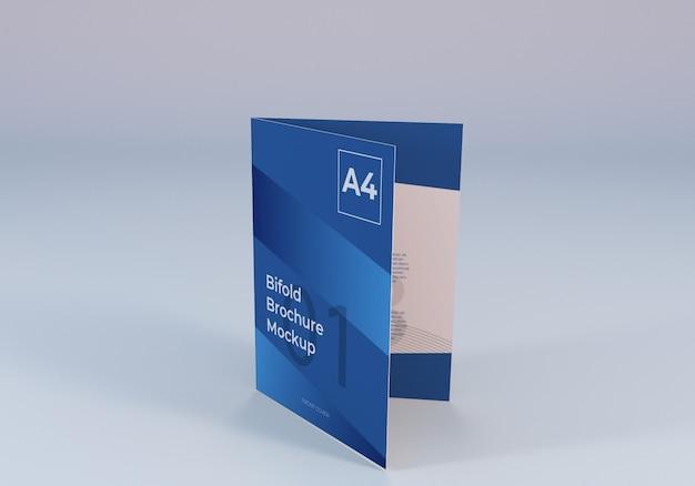 現実的なa4二つ折りパンフレット紙モックアップ