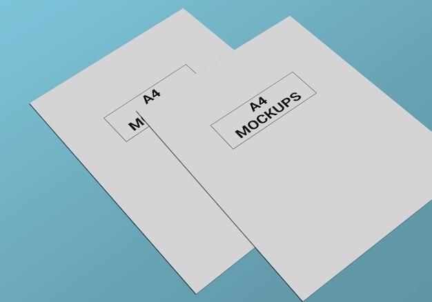 チラシ、請求書、レターヘッドなどのa4ページモックアップ