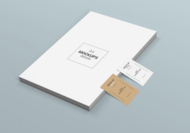 A4ページと名刺のモックアップ
