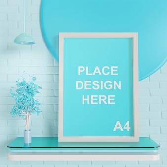 青いパレット付きのa4フレームサイズのモックアップ
