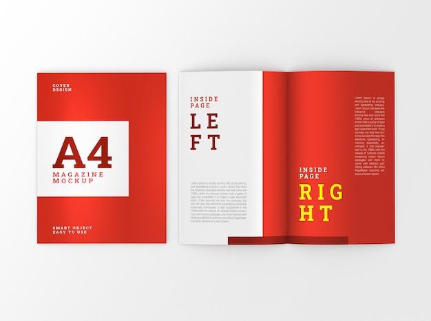 表紙と中a4パンフレット、小冊子モックアップ。テンプレート 。