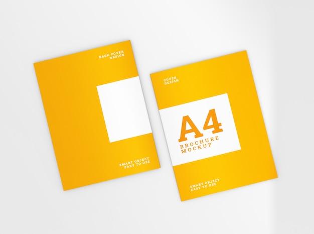 表紙と裏表紙のa4パンフレット、小冊子のモックアップ。テンプレート 。