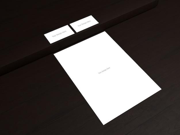 名刺の前面と背面 -  a4紙 - ダークウッドの背景