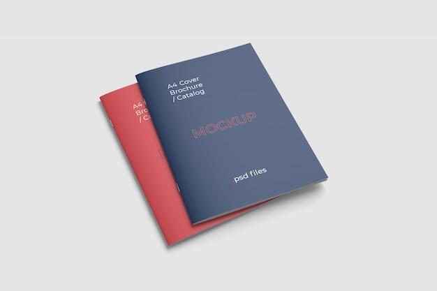 ダブルカバーa4パンフレット/カタログモックアップ