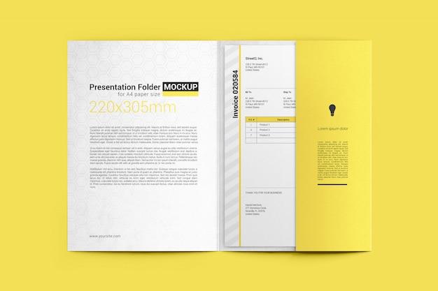 Открытая папка с макетом формата бумаги a4