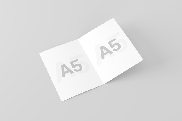 A5 / a5二つ折りパンフレットモックアップ