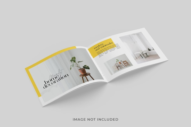 A5 bi-fold brochure or magazine mockup