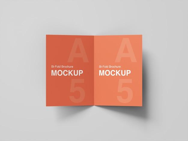 A5 bifold brochure mockup top angle view