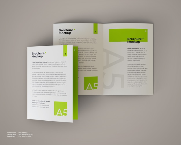 A5 bifold brochure mockup which is open and closed