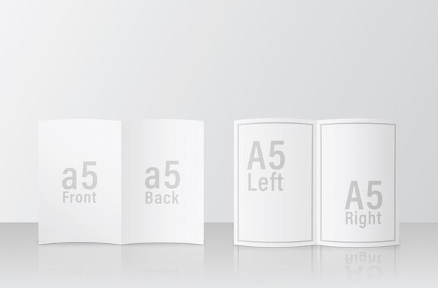 A5 브로셔 모형. 2 페이지 다른 얼굴 쉽게 유용한 psd 모형 템플릿 디자인. a5 / a5 크기 모형 psd 파일