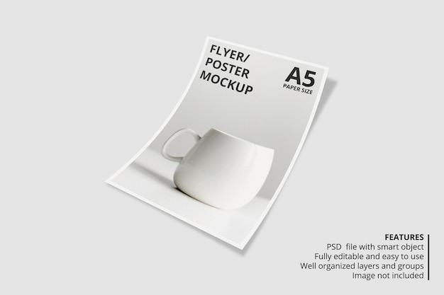 A5チラシパンフレットのモックアップデザイン